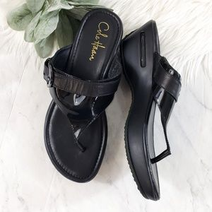 Cole Haan Air Nike Black Maddy Tant Thong Sandals